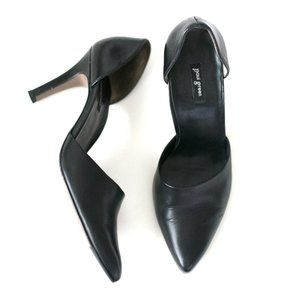 Paul Green D'orsay black heels pointed toe leather